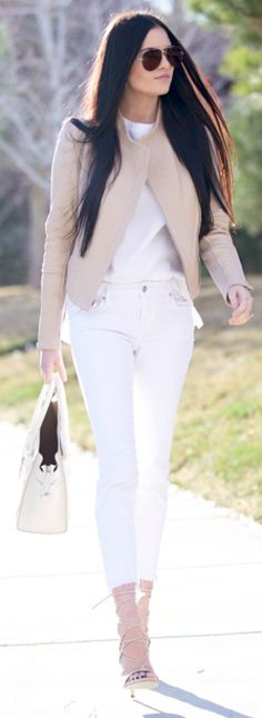 Coloured leather jackets + spring + nude jacket + effortlessly glamorous + pair of white jeans + strappy stilettos + pair of shades + perfect spring look + Rachel Parcell  Jacket: Vince, Top: Nordstrom, Jeans: Joe's, Heels: Stuart Weitzman, Bag: Celine.