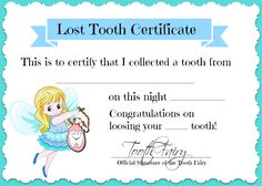 tooth fairy certificate | made this cute Lost Tooth Certificate from the Tooth Fairy that I ...