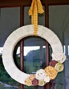fall wreath. love burlap. love the colors.