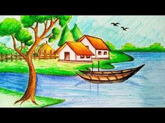 How to draw Riverside Village Scenery.Step by step(easy draw) Easy Drawings Sketches, Oil Pastel Drawings, Oil Pastel Art, Colorful Drawings, Oil Pastels, Scenery Drawing For Kids, Art Drawings For Kids, Landscape Drawings, Cool Landscapes