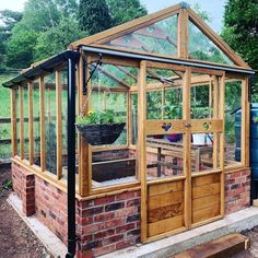 Greenhouse Goals!  We're in awe of this stunning greenhouse. A new palace for plants protected with UV Protection Oil #MadeWithOsmo  IG: @bluelanebespoke  Product Clear or Tints Available > New Palace, Back Gardens, Joinery, It Works, Windows, Dandelions, Doors, Greenhouses, House Styles