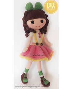 Amigurumi Tini Mini Girl Bau-Kostenlose Muster Tini Mini Dolls - Tiny Mini D . Handmade Dolls Patterns, Doll Patterns Free, Handmade Toys, Free Pattern, Fabric Doll Pattern, Crochet Doll Pattern, Fabric Dolls, Crochet Dolls, Amigurumi Free