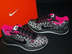 2013 Nike Wmns Lunarglide 5 V Shield Black Pink Leopard Running Shoes 615980-006