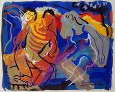 Pierre Ambrogiani (France 1907-1985) Lively Conversation, gouache 41 x 52,5 cm