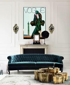 Vogue Cover Girl 1920s & Velvet Sofa. Would make a lovely office.