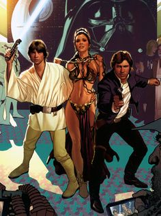 Luke Skywalker, Princess Leia and Han Solo