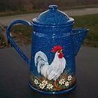 VTG Blue Splatterware Granite COFFEE POT HP Rooster Crowing Daisies Hand Painted