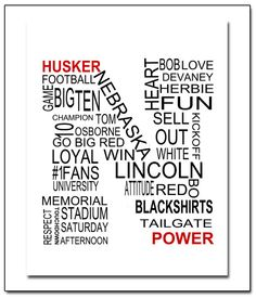 Nebraska Huskers Collage Letter N Word Art by ATimeAndPlaceDesign, $17.00
