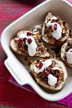 "Vegan Quinoa Stuffed Pears Recipe - from of the BEST Quinoa Breakfast Recipes"" Pear Recipes, Whole Food Recipes, Cooking Recipes, Cooking Tips, Vegetarian Recipes, Omelette, Overnight Oats, Gluten Free Recipes For Breakfast, Vegan Desserts"