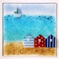fused glass beach huts - Google Search