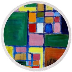 Abstract Round Beach Towel featuring the painting Checkers by Noa Yerushalmi