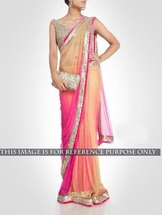 NEW LATEST PINK COLOR SPRY PEDDING NAYLON NET EMBROIDERY WORK SAREE Bollywood Sarees Online on Shimply.com