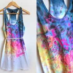 DIY splash dyed long tee===who can refuse handmade style?