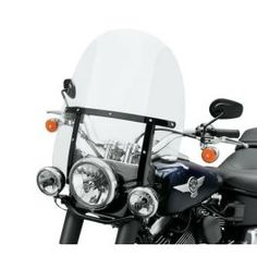 "King-Size H-D Detachables Windshield for FL Softail Models - 21"" Clear, Gloss Black Braces LCS57400110 - LCS Motorparts"