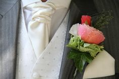 special boutonniere of Godetia, Sweet Pea, Champagne Grass, Vuvuezela Rose and pale Green Classic Hydrangea