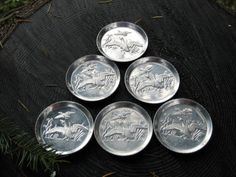 Set of 6 Mid Century Pressed/Embossed Aluminum by HeartSmileFarms, $5.00