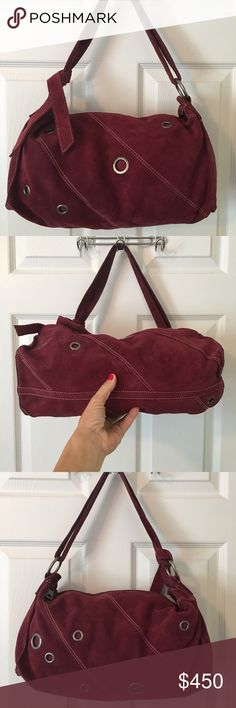 Marc Jacobs Maroon Suede Cut Out Leather Bag Mass posting. I will add the description shortly please do not purchase until I have added the description I will need to cancel the order thank you  Marc Jacobs Bags Shoulder Bags