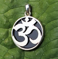 Black Onyx and Sterling Silver Reversible OM Pendant