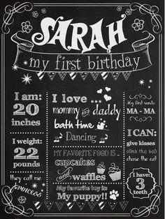 Customizable Printable First Birthday Chalkboard by BlackCatsMedia, $12.00