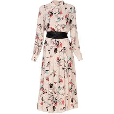 Biancoghiaccio 3/4 Length Dress (695 RON) ❤ liked on Polyvore featuring dresses, light pink, floral print long sleeve dress, long sleeve dress, pink dress, floral dresses and light pink dresses