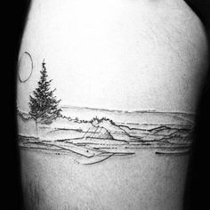 Nature Landscape Of Beach Mens Leg Band Tattoos