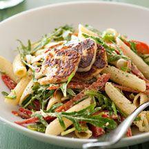 Warm pesto and haloumi pasta salad