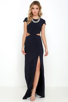 With so many stunning features to chat about, everyone is all atwitter about the Conversation Piece Navy Blue Backless Maxi Dress! This sleek and stretchy maxi dress starts off with a rounded neckline and short sleeves, while darting adds a tailored finish to the fitted bodice. A row of buttons top the curvy open back that transitions into side cutouts, and a figure-flaunting maxi skirt with thigh-high slit. Hidden zipper at back.
