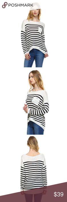 Striped Sweater Knit Top Nautical inspired open knit striped hi-low sweater with pocket and ribbing detail.  Color - Cream/Black Fate Sweaters Crew & Scoop Necks