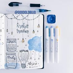 Bullet journal monthly habit tracker, lightbulb doodles, Mason jar doodles. | @goodoldbujo