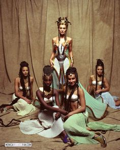 """tinywaitress:  """" Monica Bellucci as Cleopatra, surrounded by her ladies in Astérix & Obélix: Mission Cléopâtre  """""""