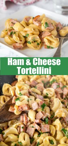 Ham & Cheese Tortellini - use that leftover ham to make this easy creamy tortellini dinner in 20 minutes! Great one pan meal any night of the week! Yummy Pasta Recipes, Delicious Dinner Recipes, Pork Recipes, Veggie Recipes, Lunch Recipes, Cooking Recipes, Skillet Recipes, Family Recipes, Easy Recipes