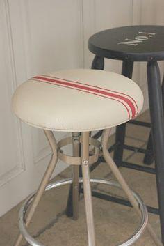 a grain sack industrial stool