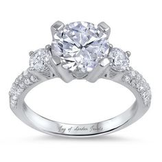 2CT Round Cut Solitaire Russian Lab Diamond Engagement Ring