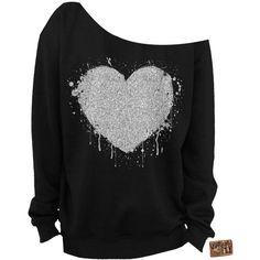 Ladies Valentine's Day Heart Glitter Slouchy Sweatshirt Grunge... ($28) ❤ liked on Polyvore featuring tops, hoodies, sweatshirts, dark olive, women's clothing, glitter sweatshirt, heart tops, olive green top, grunge tops y olive top