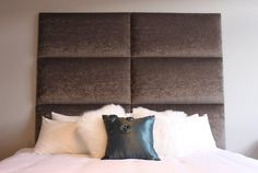 Wonderful Modern Style Padded Wall Panels Artistic Design Ideas In Dark  Brown Color With White Mattress And Black Pillow Design