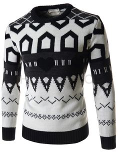 (FFT40-WHITE) Mens Casual Slim Round Neck Heart Pattern Knitted Long Sleeve Tshirts