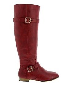 Take a look at this Red Double-Buckle Carison Boot on zulily today!