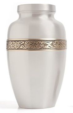 Funeral Urn by Liliane - Cremation Urn for Human Ashes - Hand Made in Brass and Hand Engraved - Fits the Cremated Remains of Adults as Well as the ashes of dogs, cats or other pets - Display Burial Urn at Home or in Niche at Columbarium by Liliane Memoria