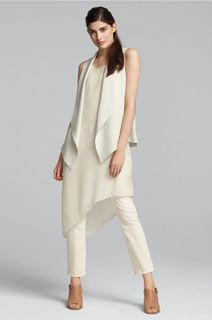 EILEEN FISHER Spring Icons Collection: Asymmetrical Layering Dress + Silk Vest + Fitted Ankle Jeans