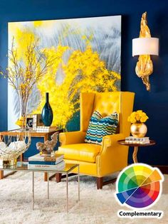 Blue and yellow (complementary) color scheme.