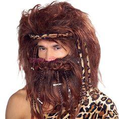 Mens Caveman Costume Wig & Beard Set