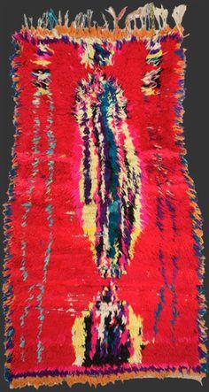 Moroccan vintage boucherouite rag  rug,  5' 2'' x 3'