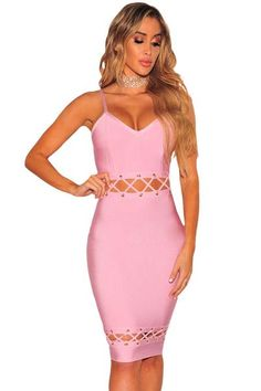 Pink Lace Up Spaghetti Strap Bandage Dress Pink Bandage Dress, Bodycon Dress, V Neck Dress, The Dress, Lover Dress, Cheap Dresses Online, Sexy Dresses, Party Dresses, Pink Dresses