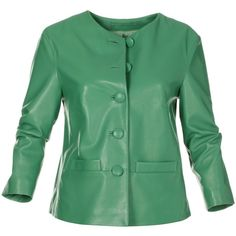 Leather jacket, nappa lamb (15.260 RUB) ❤ liked on Polyvore featuring outerwear, jackets, green leather jacket, lined leather jacket, nappa leather jacket, leather jackets and a line leather jacket