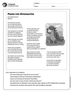 Paseo con dinosaurios Speech Language Therapy, Speech And Language, Speech Therapy, Spanish Classroom, Teaching Spanish, French Teacher, Inference, Spanish Language, Reading Comprehension