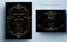 Elegant wedding invitation template classic by designedbyanna Classic Wedding Invitations, Printable Wedding Invitations, Wedding Invitation Design, Geometric Art, Gold Wedding, Rsvp, Marriage, Engagement, Announcement