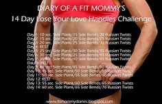 14 Day Lose Your Love Handles Challenge hmmm. adding some of these to my workout list now :D Fitness Herausforderungen, Fitness Motivation, Health Fitness, Love Handles Challenge, Biceps, Freelee The Banana Girl, Mommy Workout, Workout List, Workout Exercises