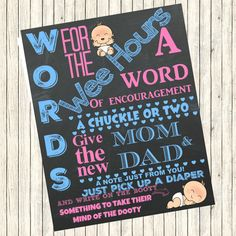 Instant digital download,  Words for the wee hours, shower game, Diaper thoughts, pink and blue,chalkboard,printable,8x10, baby shower game,