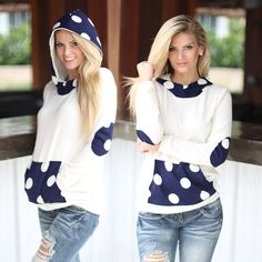 SO SOFT & COZY! Wow, this adorable Ivory And Navy Polka Dot Hoodie is a wonderfully chic piece that is super stylish and comfortable too! This is our #1 newest MUST HAVE - it's great fit and classic hoodie style is perfect to wear with every outfit. Plus, we're so in love with the cute polka dots! See other hoodies at our online boutique!