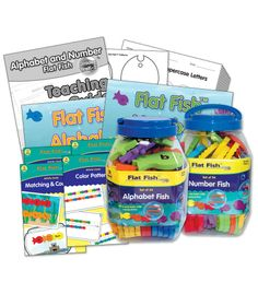 "The perfect learning tool for your ""school""! As part of the Frank Schaffer® Education Kit series, the Flat Fish™ Alphabet and Number Kit encourages fun and exploration in the early childhood classroom. The kit features components designed to help educators integrate the versatile manipulatives into their classrooms. It includes:  The Flat Fish™ Alphabet Set of 54 fish with separate storage container#CDWish13"